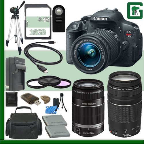 Canon Eos Rebel T5I Digital Slr Camera Kit With 18-55Mm Stm Lens And Canon 55-250Mm Lens And Canon Ef 75-300Mm Iii Lens + 16Gb Green