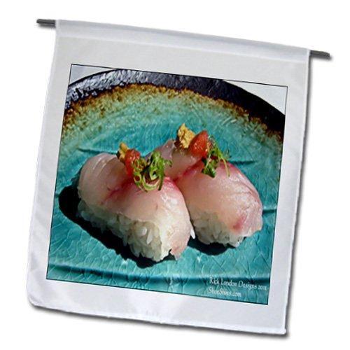 Rick London Fine Art Sushi Gifts - Scrumptious Pieces Of Sushi - 12 x 18 inch Garden Flag (fl_25816_1)