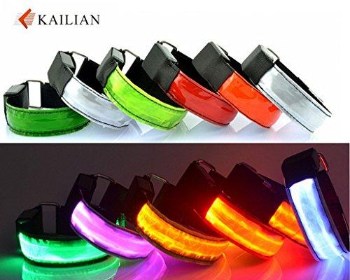 Kailian ® LED Fahrradlampe Wristband Licht Blinklicht joggen Außen Schulweg Kinder Fahrrad Hundehalsband (6 Farben erhältlich)