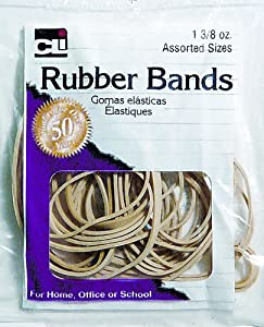 Charles Leonard Inc., Rubber Bands, 3/8 Ounce Bags, Amber, Assorted Sizes (56381)