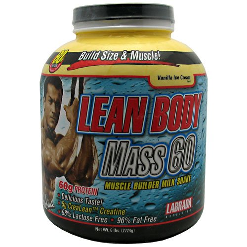 Labrada  Nutrition Lean Body Mass 60 Muscle Builder Protein Powder, Vanilla Ice Cream, 6-Pounds Tub