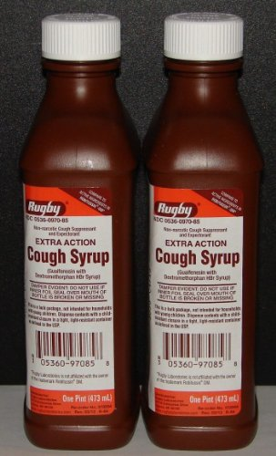 Rugby Extra Action Cough Syrup & Expectorant 16oz (Compare to Robitussin DM) – 2 Pack