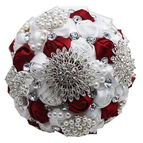 High Quality Romantic Diamond Rose Artificial Wedding Bouquet of Flower, Western Style Wedding Bride Holding Flower red wine white
