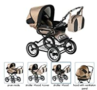 Roan Rocco Classic Pram Stroller 2-in-1 with Bassinet and Seat Unit - Multiple Colors by Roan