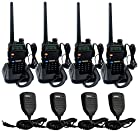 Retevis RT-5R 5W 128CH UHF/VHF 136-174/400-520 MHz Dual Band Dual Standby DTMF/CTCSS/DCS FM Transceiver with Earpiece Ham Amateur Radio Walkie Talkie 2 Way Radio Black 4 Pack and Retevis Speaker mic 4 Pack