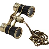OPO Opera Theater Horse Racing Glasses Binocular Telescope Chain Necklace (Black with Gold Trim) 3x25