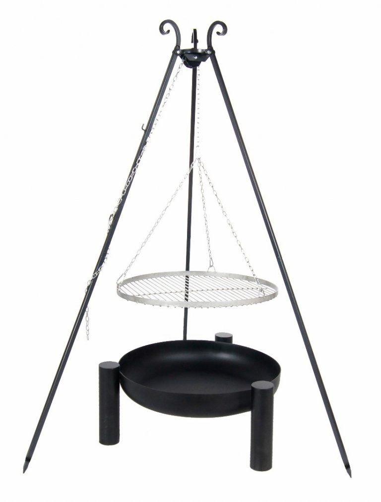Kingdiscount® Schwenkgrill Komplett-Set mit Edelstahl-Rost 70 cm, Feuerschale 80 cm, Dreibein 180 cm und Kette günstig