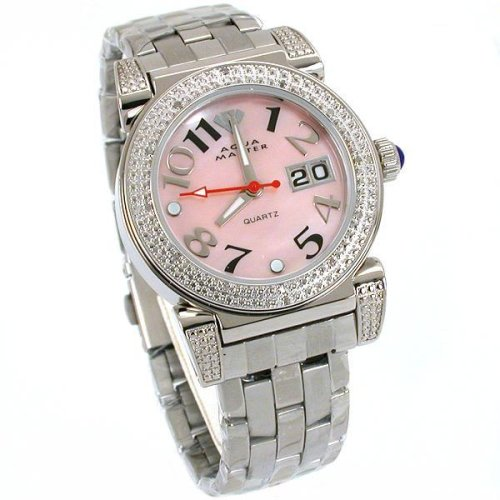 Aqua Master Ladies Pink 0.20 ct. Diamond Steel Watch
