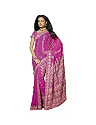 Designer Fine-looking Magenta Embroidered Faux Georgette Saree By Triveni
