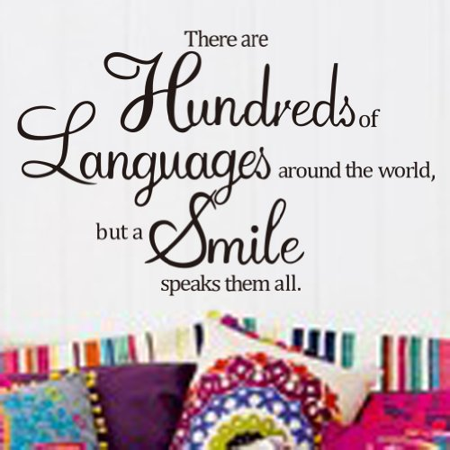 Toprate(Tm)Diy Quote There Are Hundreds Of Languages In The World, But A Smile Speaks Them All Wall Decal Sticker Living Room Stickers Vinyl Removable Black Color front-61862