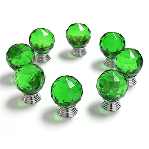 YUYIKES 30mm Diamond Shape Crystal Glass Cabinet Knobs for Drawer, Door Wardrobe,Dresser ,Cupboard ,Kitchen and Bathroom Cabinets ,Shutters (Green-8 pack) (Crystal Ball Knob compare prices)