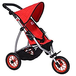 Modern Doll Jogging Stroller Superior Quality Red Quilted Fabric New Luxury Collection Ages 4+