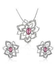Mahi Rhodium Plated Pink Rose Flower Pendant Set Made With Swarovski Elements For Women NL1104127RPin
