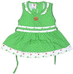 Amy Baby Girls' Dress (162_2_3-6 Months, Green, 3-6 Months) - Special Offer with Free Delivery - 100% Cotton Exclusive Kidswear