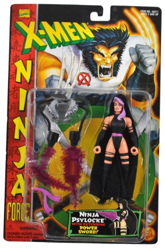 Marvel Comics Year 1996 X-MEN Ninja Force Series 5-1/2 Inch Tall Action Figure - NINJA PSYLOCKE with Removable Cape and Extending Power Sword