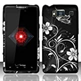 Rubberized White Flowers Design for MOTOROLA Motorola Droid Razr HD XT926