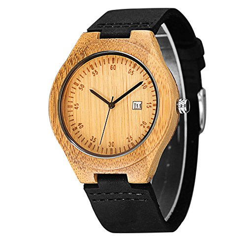 CUCOL Wooden Watches For Men Casual Black Cowhide Leather Strap Wood Watch With Box (date(black))