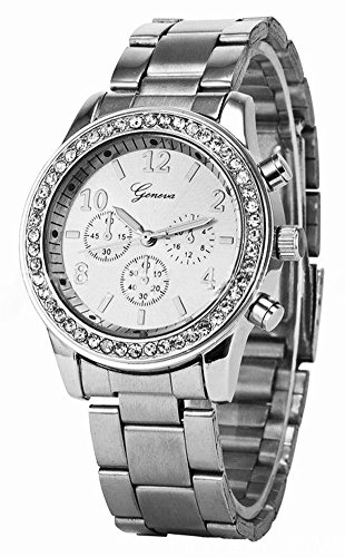 Shot-In 2014 New Arrival Bling Crystal Women Stainless Steel Quartz Wrist Watch (Silver)