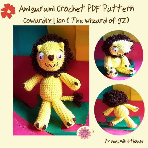 Cowardly Lion (the wizard of Oz) Amigurumi Crochet Pattern