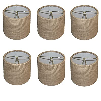 Upgradelights® Set of Six - 6 Inch Barrel Drum Chandelier Shades in Natural Burlap Fabric