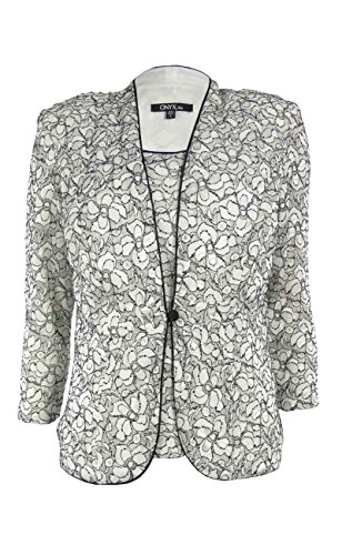 Onyx Nite Women's 2PC Lace Blouse Set (S, White/Black)