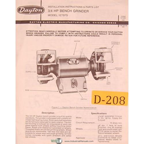 Strange Dayton 1Z707S 3 4 H P Bench Grinder Installtion And Creativecarmelina Interior Chair Design Creativecarmelinacom