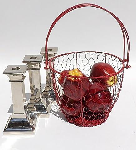 Metal Fruit Basket Red Chicken Wire Egg Bathroom