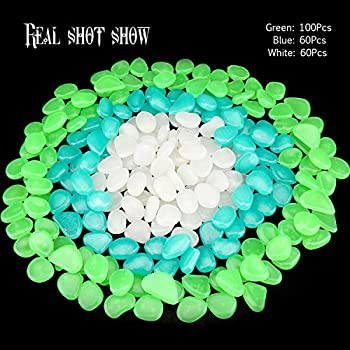 Homder 220pcs Glow in the Dark Garden Pebbles for Walkways & Decor and Plants Luminous Stones in Blue & Green & White