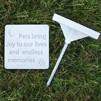 """Pet Memory Stones, Memorial Headstone, """"Pets Bring Joy To Our Lives And Endless Memories"""", Small"""