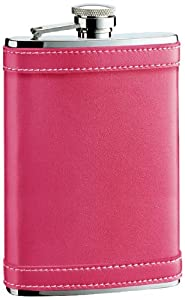 """Visol """"Alexis"""" Leather Stainless Steel Hip Flask, 8-Ounce, Hot Pink"""
