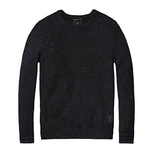 Scotch & Soda felpa da uomo Structure Knitted Pullover 101660 Graphite Melange L