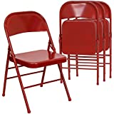 Flash Furniture Hercules Series Triple Braced and Quad Hinged Red Metal Folding Chairs, Set of 4