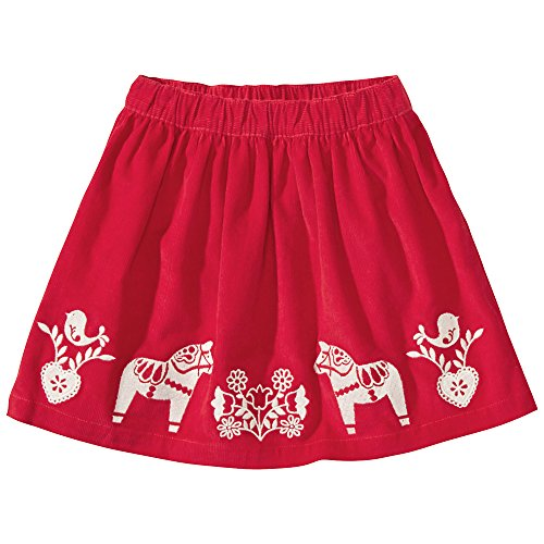 Hanna Andersson Big Girl Santa Lucia Embroidered Skirt, Size 140 (10), Äpple Red front-787189