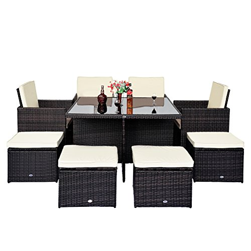 9pc Rattan Garden Furniture Aluminium Outdoor Patio Set Cube Weave Wicker Dining