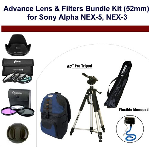 Advance Lens & Filters Bundle Kit (52mm) for Sony Alpha NEX-5, Sony Alpha NEX-3 Cameras (Advance Alpha 5 compare prices)