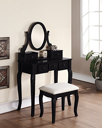 Best Prices! 3-Piece Wood Make-Up Mirror Vanity Dresser Table and Stool Set, Black