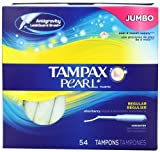 Tampax Pearl Plastic Unscented Tampons, Regular Absorbency, 54 Count