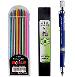 SUPER COMBO!! Baile Mechanical Pencil with 5 Black Lead Refills + 12 Color Lead Refills