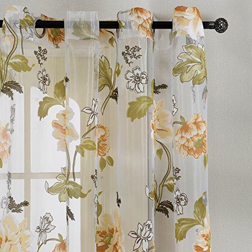 Top Finel Fiore Voile Poliestere Stampato Tenda con occhielli,195 x 245 cm, 1 pezzo, fiore giallo