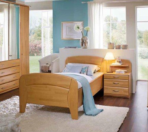 Bett VANESSA PLUS in Komforthöhe , 90x200 cm , Seniorenbett , Einzelbett , Erle teilmassiv
