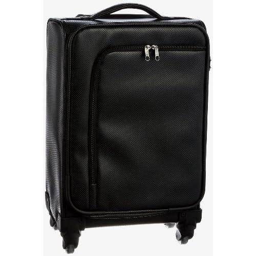 HIDEO WAKAMATSU(ヒデオワカマツ)アイラ TSAカードロック搭載キャリーバッグ パンチングレザー調ソフトキャリーケース (46cm <約2~3泊用> 容量:約23.3リットル Mサイズ, ブラック(01))