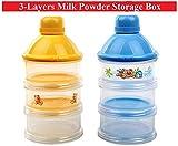 #9: 3-Layers Transparent Plastic Portable Milk Powder Storing Travel Boxes - For Newborn Babies & Infants