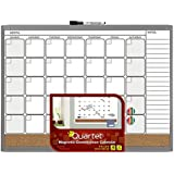 Quartet Magnetic Combination Calendar Board, 17 x 23 Inches, Dry Erase and Cork, 1-Month Design with List, Charcoal Frame (79380-CH)