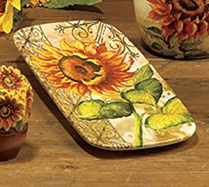 "Amazon.com: Tuscan Sunflowers Rectangular Platter 14 x 5.5"" by Tre"