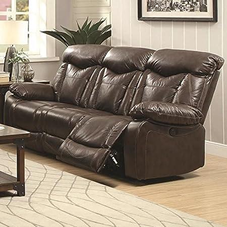 Coaster 601711 Home Furnishings Motion Sofa, Dark Brown