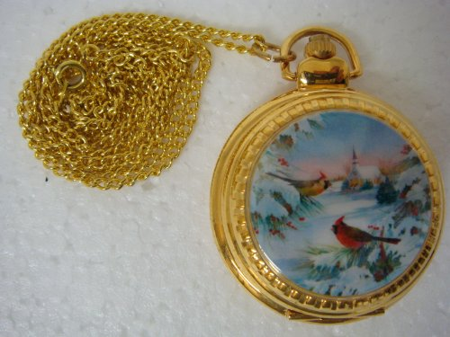 Round Shape Quartz Watch Pendent with Winter Snow & Cardinal Picture- 14650