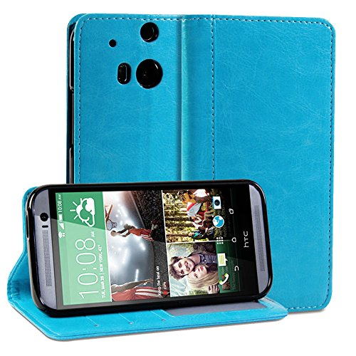 Mylife Deep Sky Blue {Textured Design} Faux Leather (Card, Cash And Id Holder + Magnetic Closing) Slim Wallet For The All-New Htc One M8 Android Smartphone - Aka, 2Nd Gen Htc One (External Textured Synthetic Leather With Magnetic Clip + Internal Secure Sn