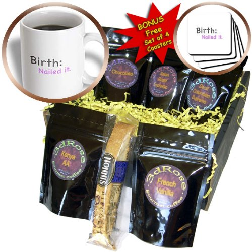 Cgb_107314_1 Evadane - Baby/Newborn Quotes - Birth Nailed It. Baby Humor, Baby Girl, Pink - Coffee Gift Baskets - Coffee Gift Basket front-239465