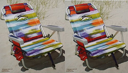 2 Tommy Bahama 2015 Backpack Cooler Chairs with Storage Pouch and Towel Bar- multicolor