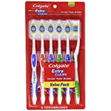Colgate Extra Clean Toothbrush, Full Head, Medium, 6 Count
